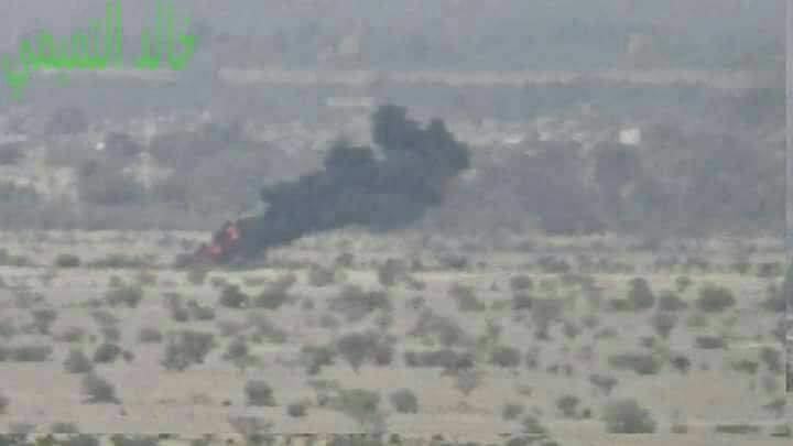 الجوف: طيران التحالف يحرق تعزيزات لمليشيا الحوثي..(صورة)