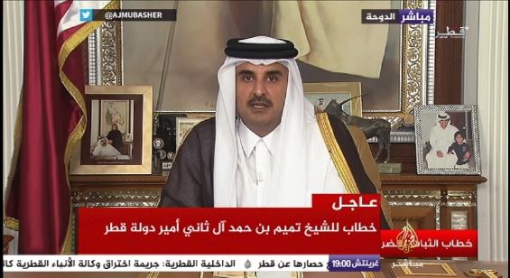 """أمير قطر """"الدين ليس مصدر الإرهاب، والدول المحاصرة تناقض القوانين الدولية والقيم"""