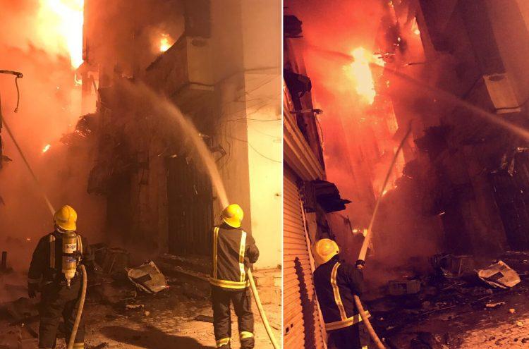بالصور.. حريق هائل في منطقة جدة التاريخية بالسعودية