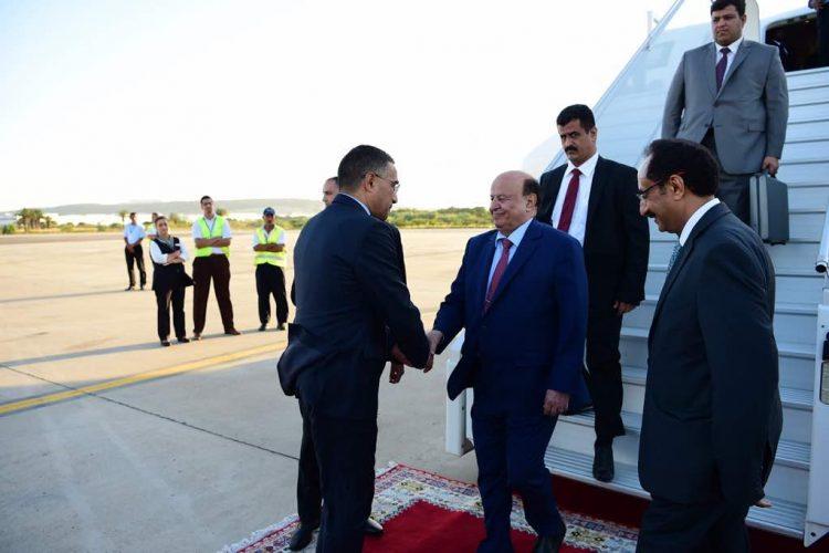 الرئيس هادي يصل إلى المغرب لزيارة الملك سلمان