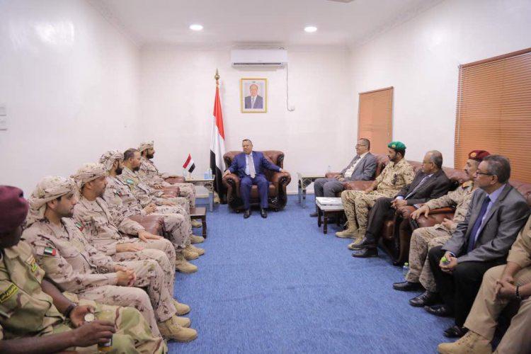 رئيس الوزراء بن دغر يستقبل قيادة قوات التحالف العربي في عدن