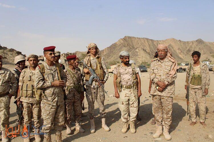رئيس هيئة الاركان العامة يتفقد اللوائين 117  مشاة بمحور البيضاء و26 مشاة في حريب بمحافظة مأرب