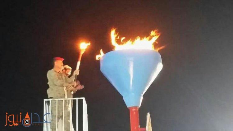 رئيس هيئة الاركان في الجيش الوطني ومحافظ مارب يوقدان شعلة ثورة سبتمبر