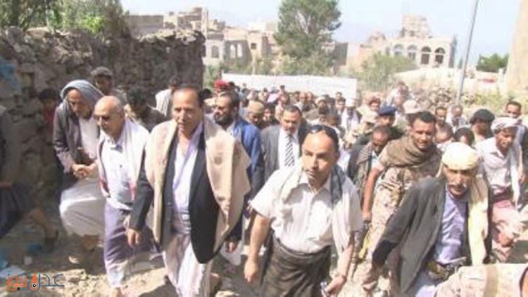 الوفد الحكومي يزور مديرية مشرعة وحدنان بجبل صبر في محافظة تعز