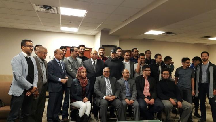 السفير اليمني بكندا يطلع على اوضاع الطلاب وابناء الجالية اليمنية