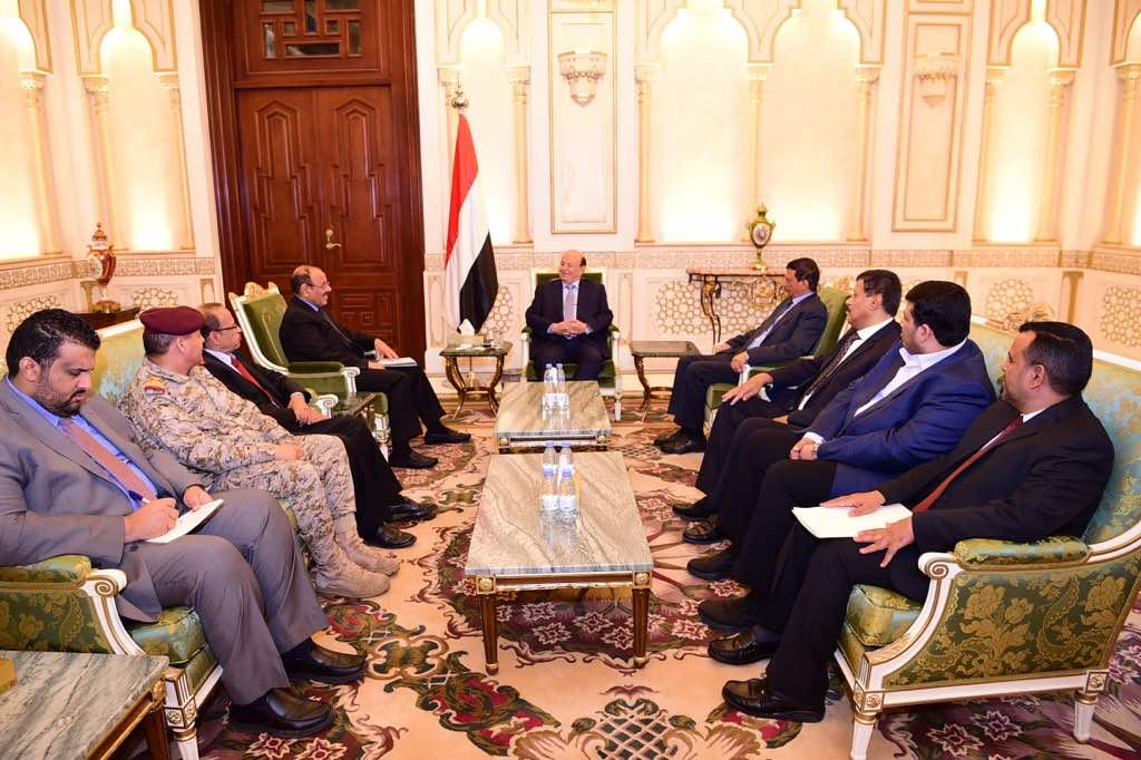 الرئيس هادي يستقبل نائبه علي محسن ووفد اليمن لاجتماع دول التحالف الإسلامي العسكري