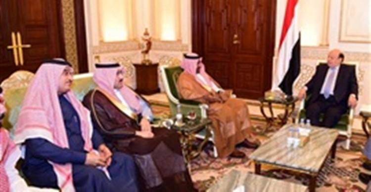 هادي يناقش مع الجانب السعودي برنامج إعادة الإعمار في اليمن في المناطق المحررة بداية 2018