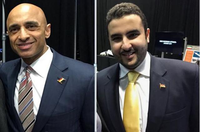 شاهد بالصور .. اين وضعا سفيرا السعودية والإمارات في واشنطن علم الجمهورية اليمنية