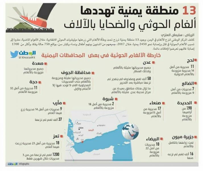Aden on the top.. 13 Yemeni provinces groan by houthies mines
