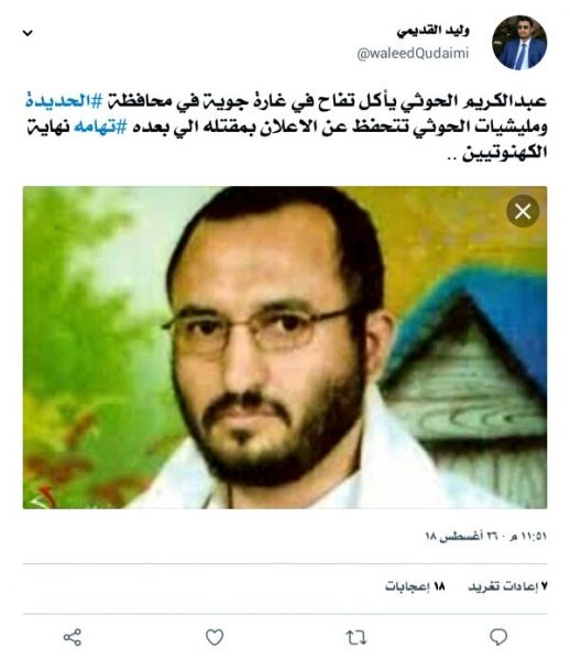 مسؤول في الحكومة يعلن مقتل عم عبد الملك الحوثي بغارة جوية في الحديدة
