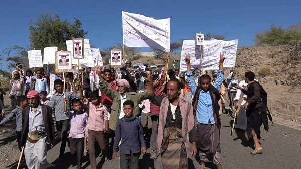 protests in Taiz against UAE-backed Abu Al-Abbas brigades