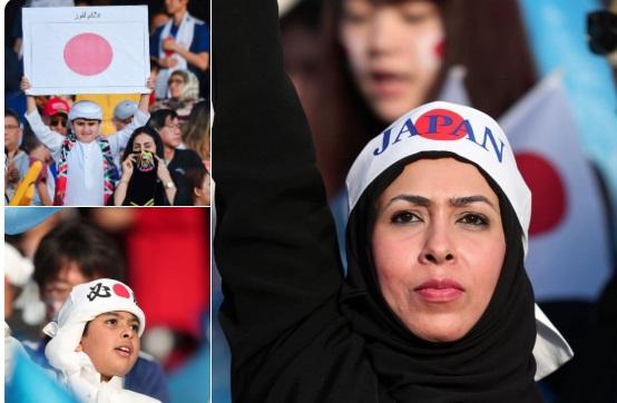 بالصور.. سخرية واسعة من اماراتيين تحولوا إلى يابانيين في مباراة قطر واليابان