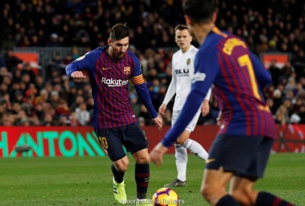 برشلونة يتعثر امام فالنسيا بالدوري الاسباني