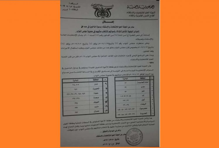 """مليشيات الحوثي تعلن موعد ما اسمته الانتخابات النيابية التكميلية في المحافظات """"وثيقة"""""""