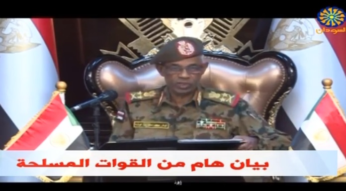 """السودان.. وزير الدفاع """"عوض بن عوف"""" يعلن بيان الجيش باعتقال الرئيس """"عمر البشير"""" وتشكيل مجلس عسكري لإدارة البلاد"""