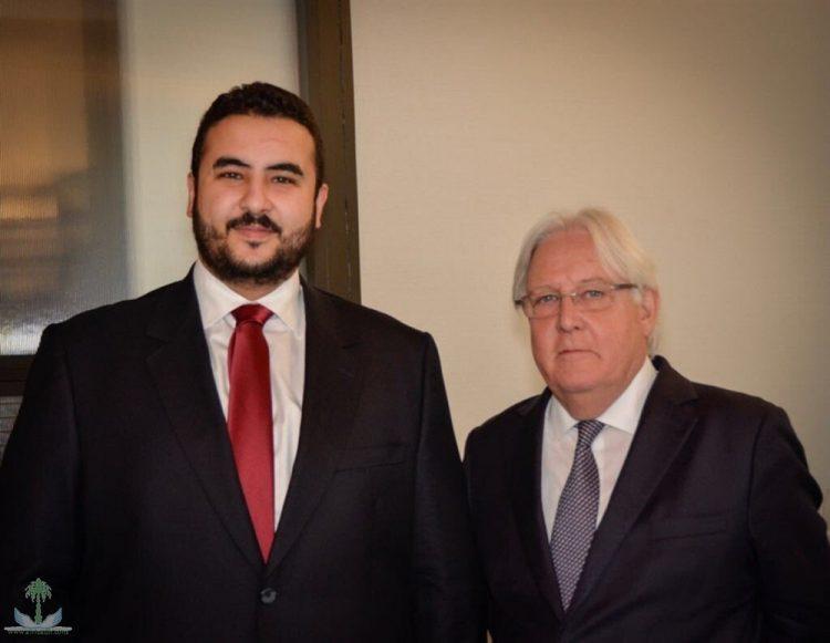 خالد بن سلمان يبحث مع المبعوث الأممي غريفيث تطورات الأوضاع في اليمن ومستجدات السلام