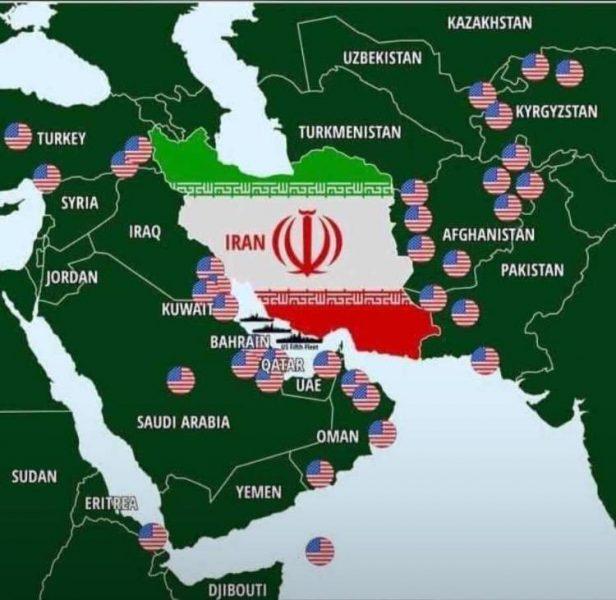 خريطة عسكرية توضح تواجد القواعد الأمريكية المحيطة بإيران (صورة)