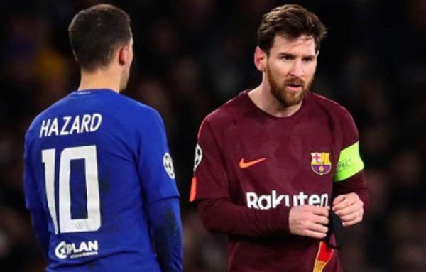 """لاعب ريال مدريد الجديد """"هازارد"""" يمتدح ميسي ويرفض مقارنته به"""