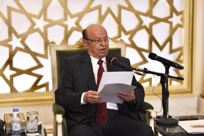 في خطابه للشعب اليمني.. رئيس الجمهورية يشيد بإنجاز آلية اتفاق الرياضويؤكد الإلتزام بالتصدي للحوثيين