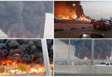 شاهد حريق ضخم يلتهم سوق عجمان الشعبي في الامارات