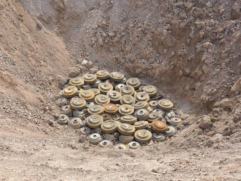 فرق الجيش الهندسية تتلف 1898 لغم زرعتها مليشيا الحوثي في باب المندب بتعز